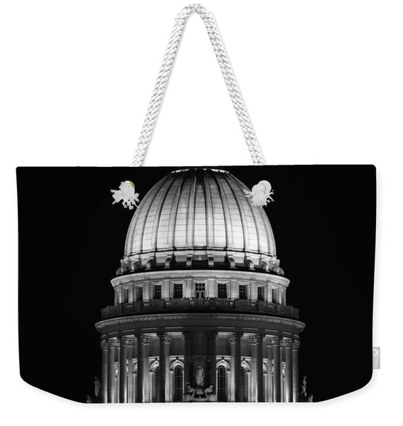Wisconsin State Capitol Building At Night Black And White Weekender Tote Bag