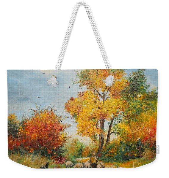 With Sheep On Pasture  Weekender Tote Bag
