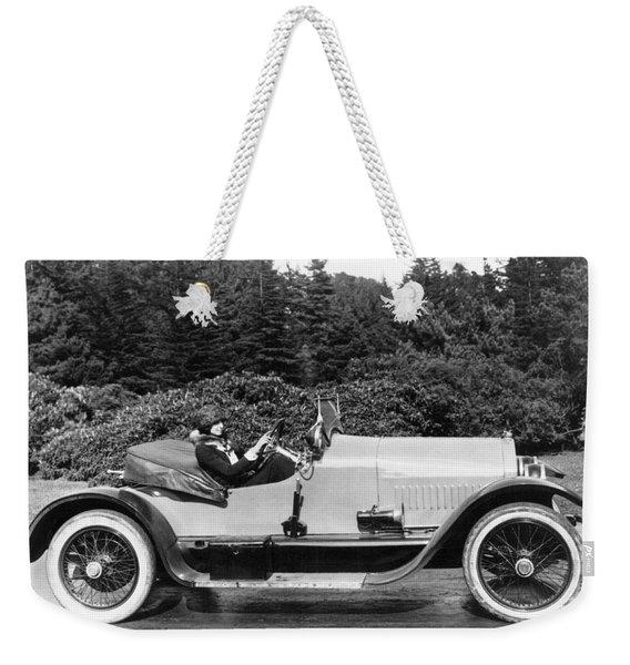 Woman Driving A Stutz Roadster Weekender Tote Bag