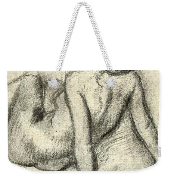 Woman Having Her Hair Styled Weekender Tote Bag
