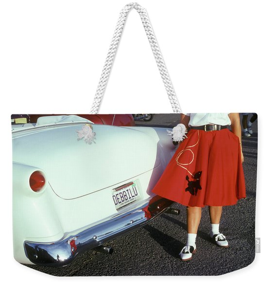 Woman In Red Poodle Skirt And Saddle Weekender Tote Bag