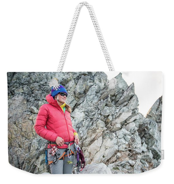 Woman On The North Ridge Of Forbidden Weekender Tote Bag