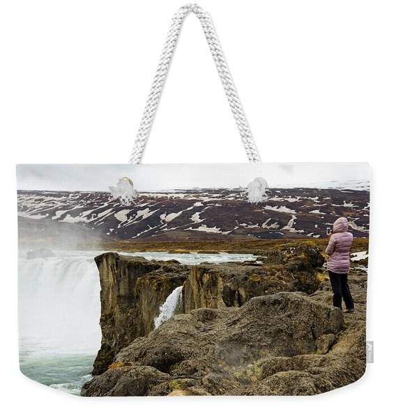 Woman Standing On Rock And Watching Weekender Tote Bag