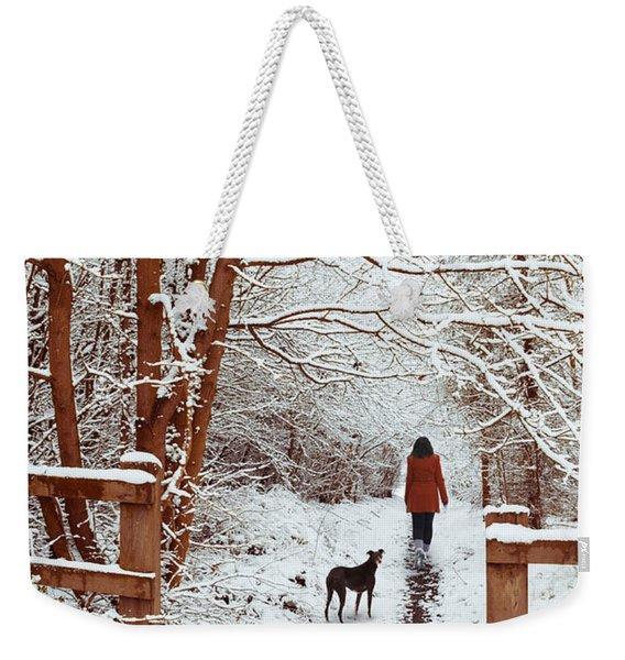 Woman Walking Dog Weekender Tote Bag
