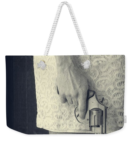Woman With Revolver Weekender Tote Bag