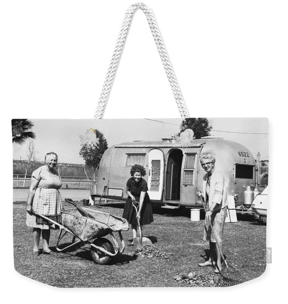 Women Cleaning Rodeo Grounds Weekender Tote Bag