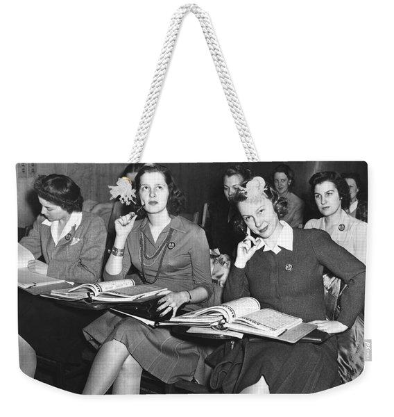 Women In Airline Class Weekender Tote Bag