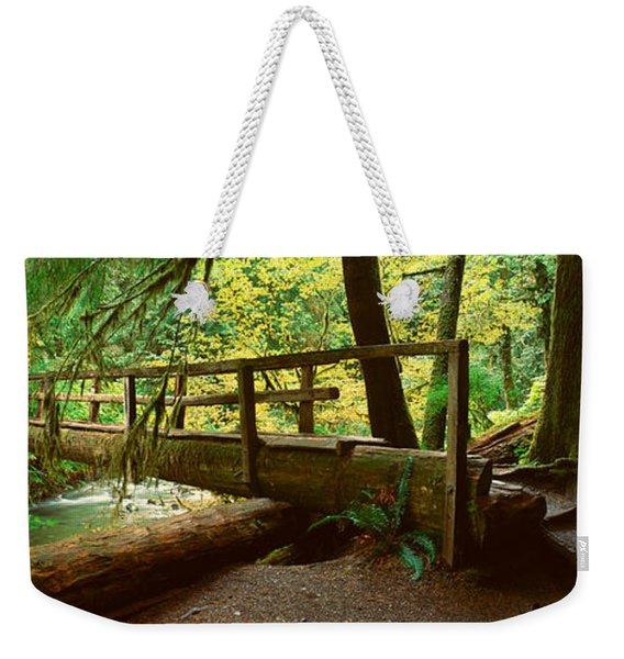 Wooden Bridge In The Hoh Rainforest Weekender Tote Bag