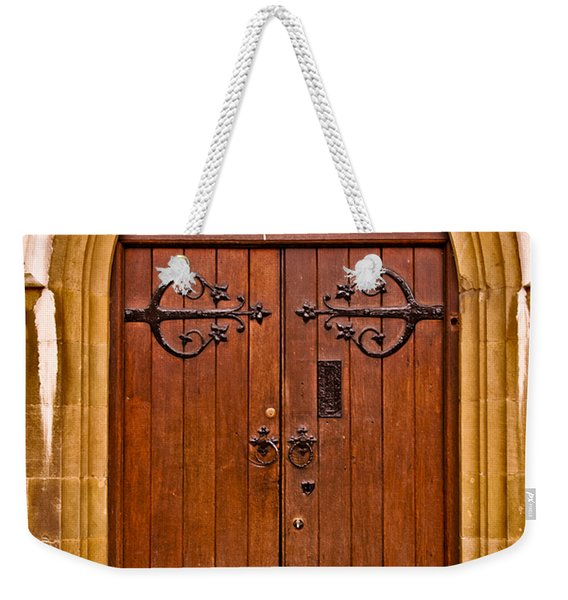 Wooden Door At Tower Hill Weekender Tote Bag