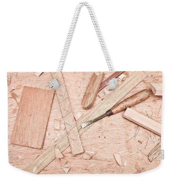 Woodwork Weekender Tote Bag