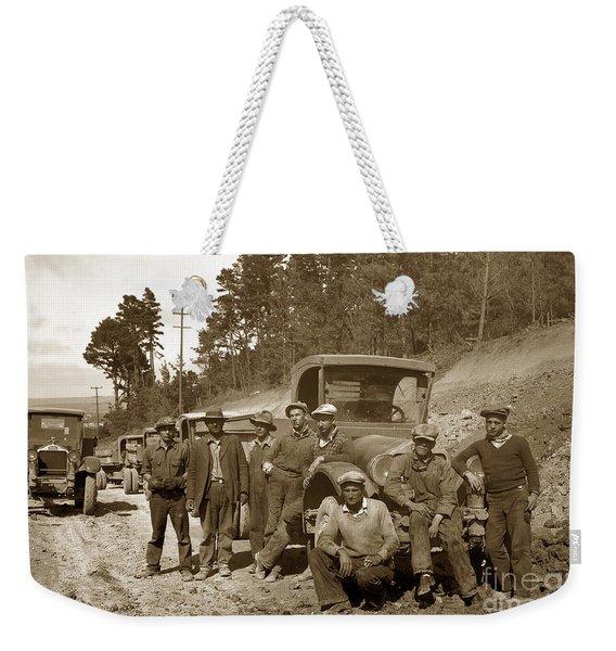 Workers On Highway One Monterey Carmel Hill California 1929 Weekender Tote Bag