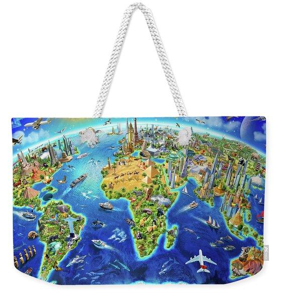 World Landmarks Globe Weekender Tote Bag