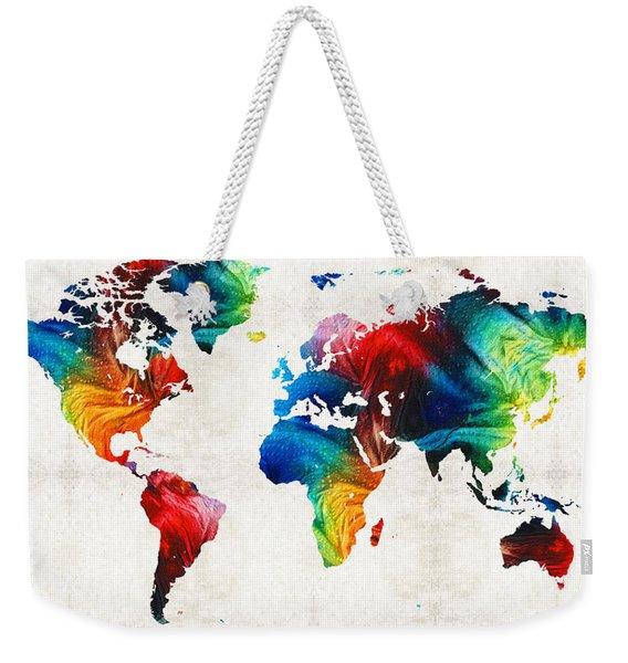 World Map 19 - Colorful Art By Sharon Cummings Weekender Tote Bag