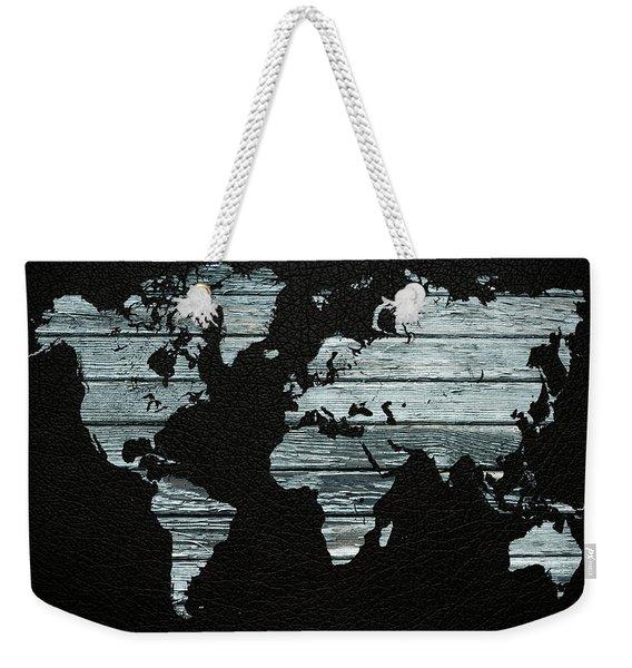 World Map Distressed Wood Beams On Leather Weekender Tote Bag