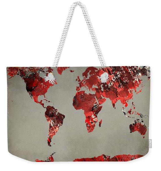 World Map - Watercolor Red-black-gray Weekender Tote Bag