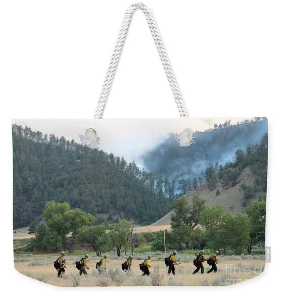 Wyoming Hot Shots Walk To Their Assignment Weekender Tote Bag