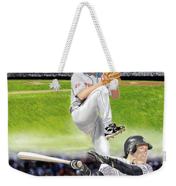 Yankees Vs Indians Weekender Tote Bag