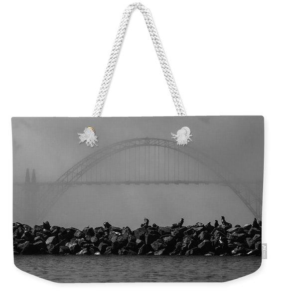 Yaquina Bay Bridge Under Fog Weekender Tote Bag