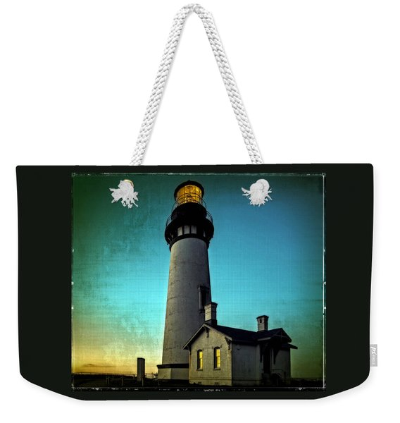 Yaquina Head Lighthouse At Sunset Weekender Tote Bag