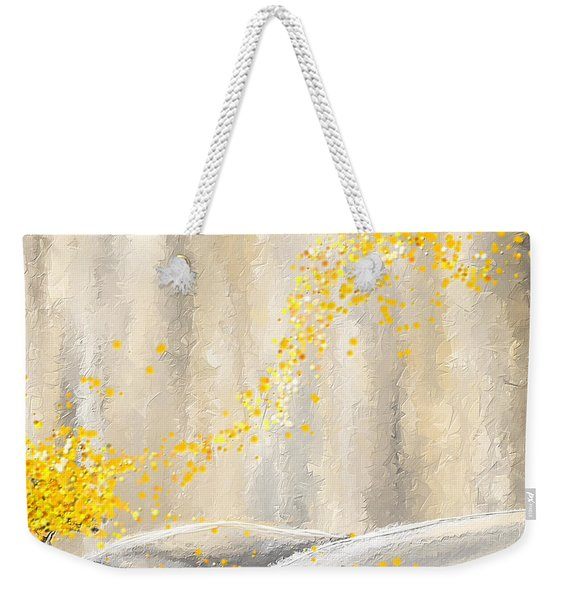 Yellow And Gray Landscape Weekender Tote Bag