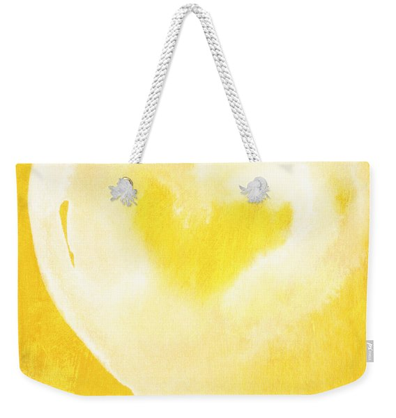 Yellow And White Love Weekender Tote Bag