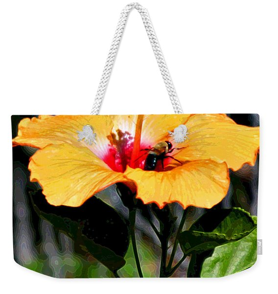 Yellow Bumble Bee Flower Weekender Tote Bag