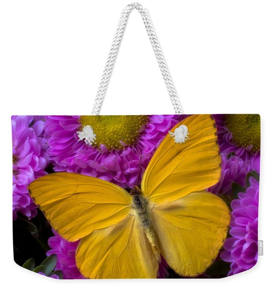 Yellow Butterfly And Pink Flowers Weekender Tote Bag