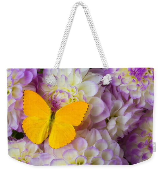 Yellow Butterfly On Dahlias Weekender Tote Bag