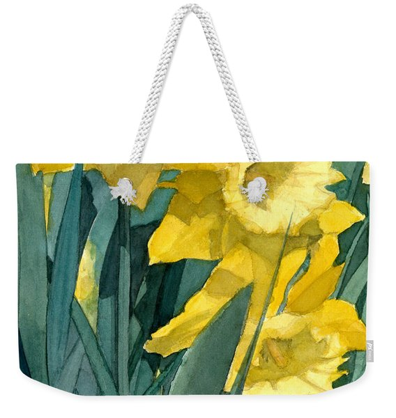 Watercolor Painting Of Blooming Yellow Daffodils Weekender Tote Bag