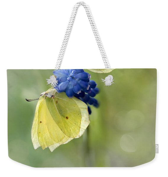 Weekender Tote Bag featuring the photograph Yellow Duet by Jaroslaw Blaminsky
