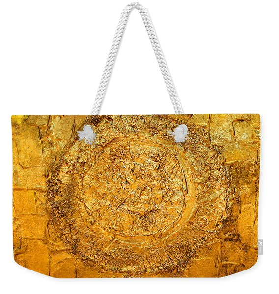 Yellow Gold Mixed Media Triptych Part 1 Weekender Tote Bag