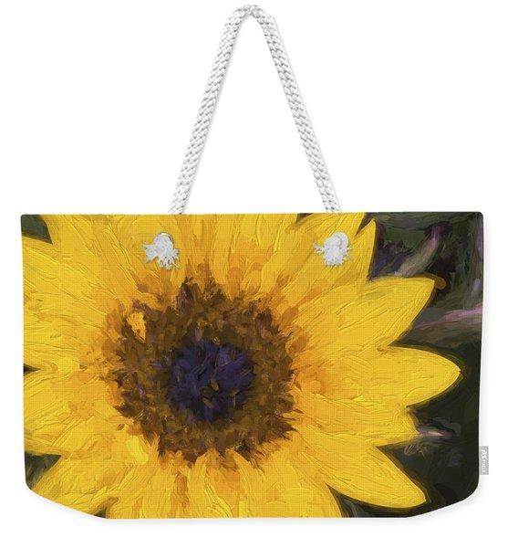 Yellow Sunflower Painterly Weekender Tote Bag