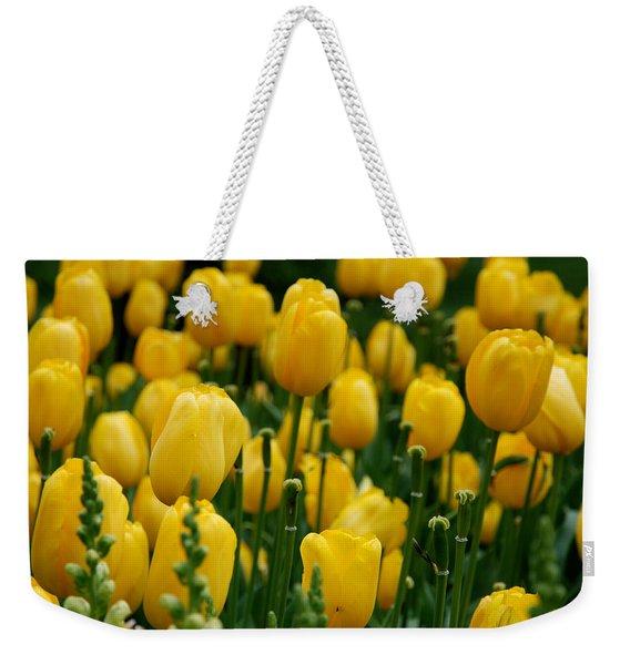 Yellow Tulip Sea Weekender Tote Bag