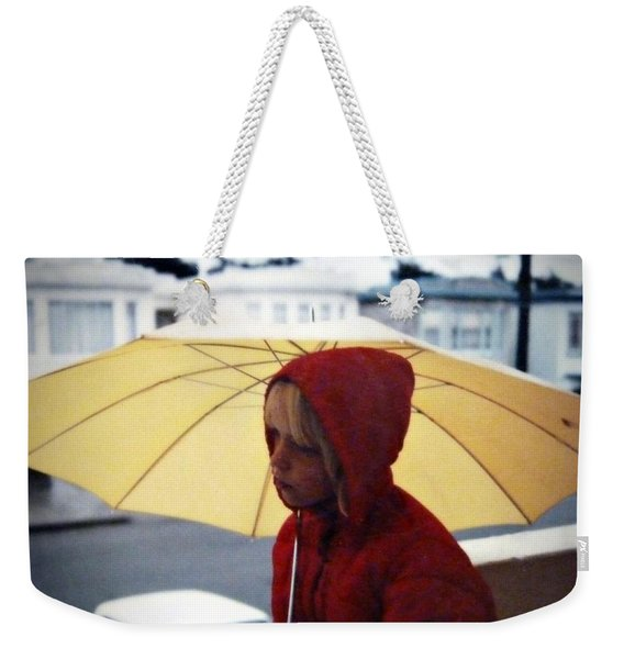 Weekender Tote Bag featuring the photograph Yellow Umbrella - Polaroid 1976 by Patricia Strand