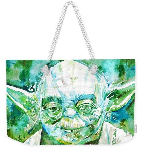 Yoda Watercolor Portrait Weekender Tote Bag