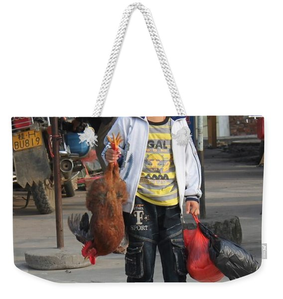 Young Boy Carrying A Dead Chicken To School Weekender Tote Bag