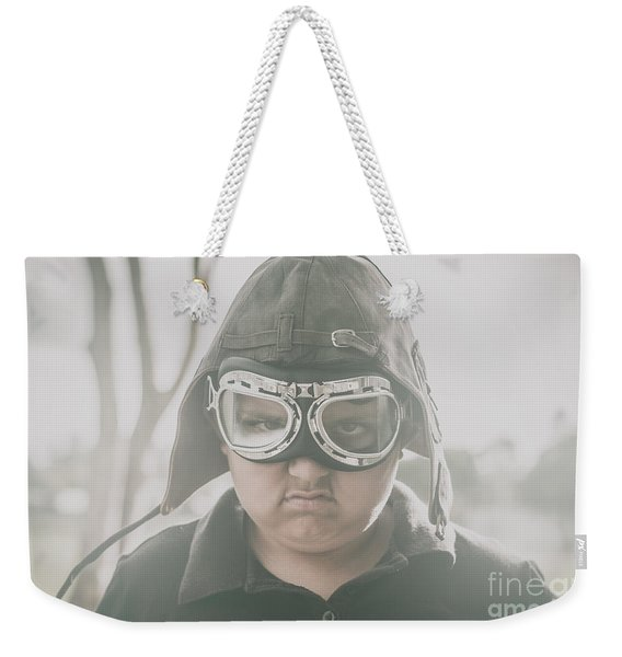 Young Boy Pilot. Battle Ready Weekender Tote Bag