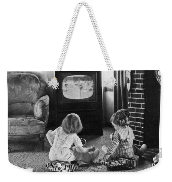 Young Children Watching Tv Weekender Tote Bag