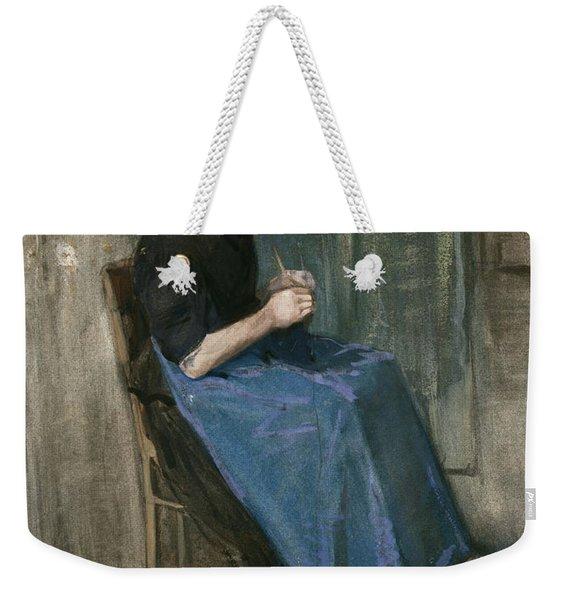 Young Scheveningen Woman Knitting Facing Right Weekender Tote Bag