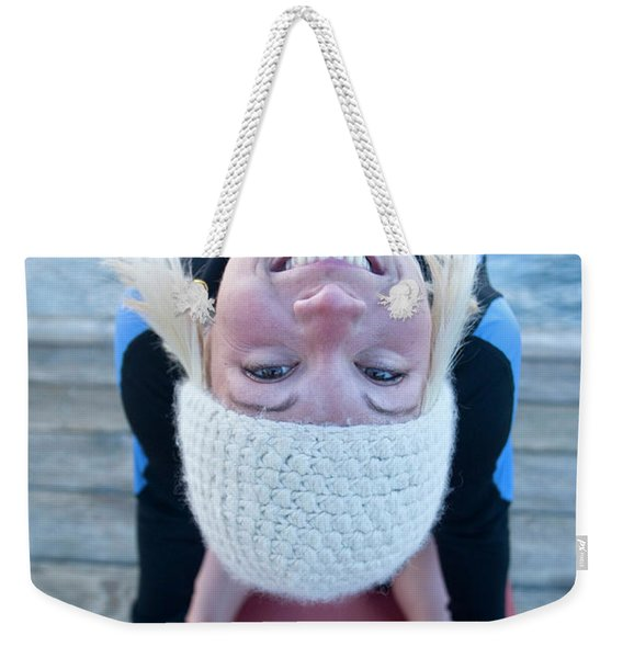 Young Woman Doing Yoga On Pier In Tahoe Weekender Tote Bag