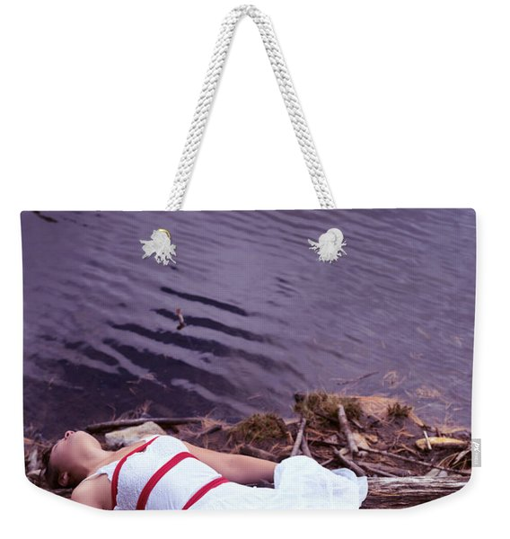 Young Woman In Dress And Bondage Rope Lying Near Water Weekender Tote Bag