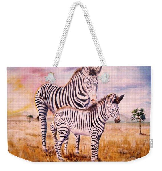 Zebra And Foal Weekender Tote Bag