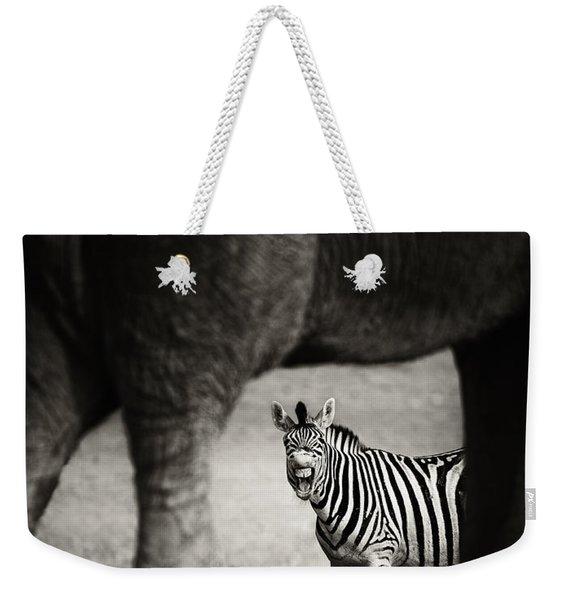 Zebra Barking Weekender Tote Bag