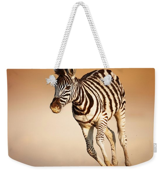 Zebra Calf Running Weekender Tote Bag