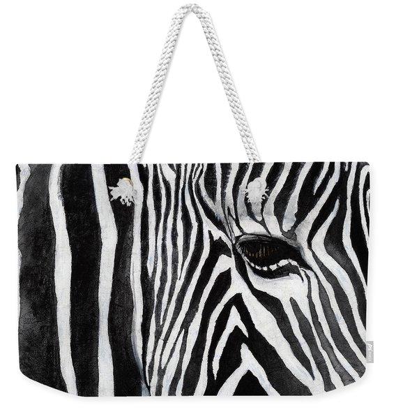 Zebra Eye Weekender Tote Bag
