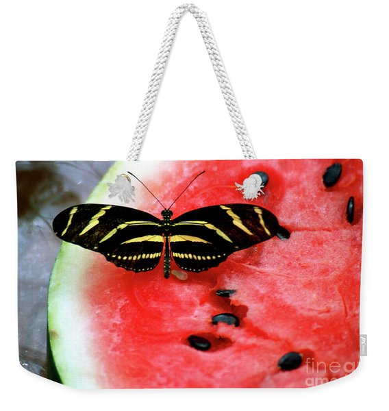 Zebra Longwing Butterfly On Watermelon Slice Weekender Tote Bag