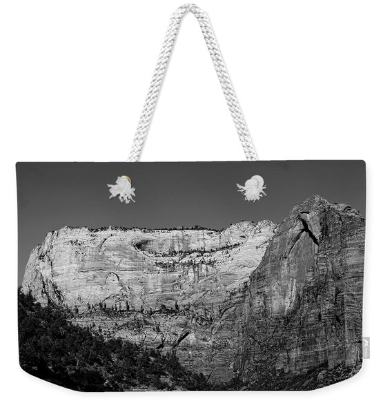 Weekender Tote Bag featuring the photograph Zion Cliff And Arch B W by Jemmy Archer