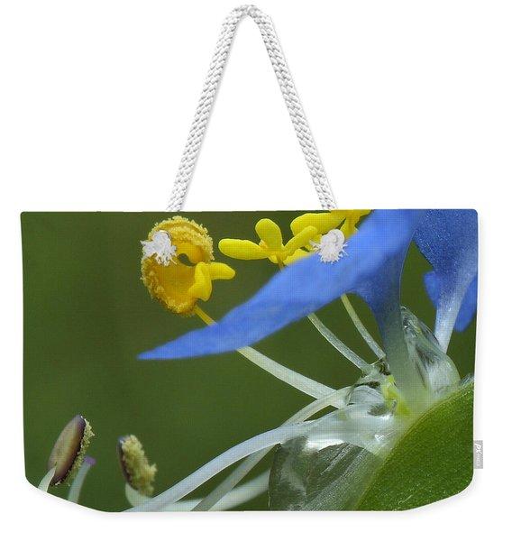 Close View Of Slender Dayflower Flower With Dew Weekender Tote Bag