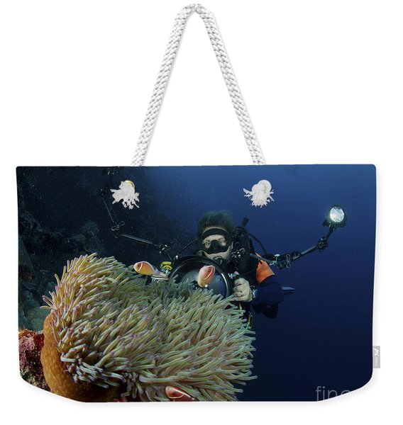 Anemonefish In A Brown Anemone Weekender Tote Bag
