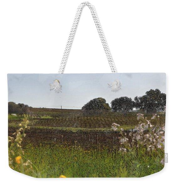 Beautiful California Vineyard Framed With Flowers Weekender Tote Bag